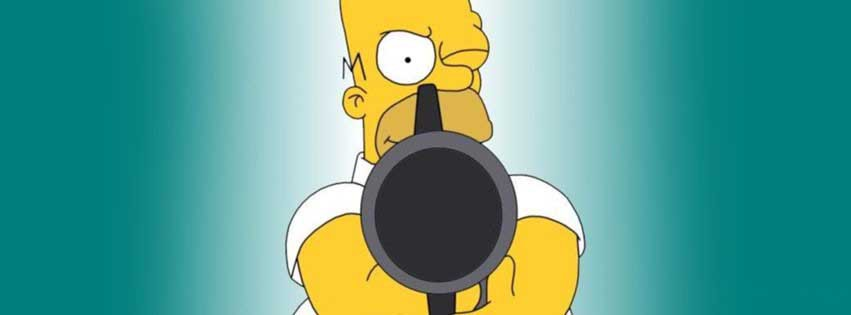 couverture, facebook, cover, homer, simpsons, simpson, 007, james, bond, pistolet, gun
