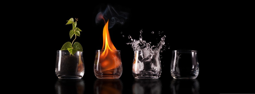 couverture facebook, facebook cover, verre, 4 elements, feu, terre, eau, air, fire, water