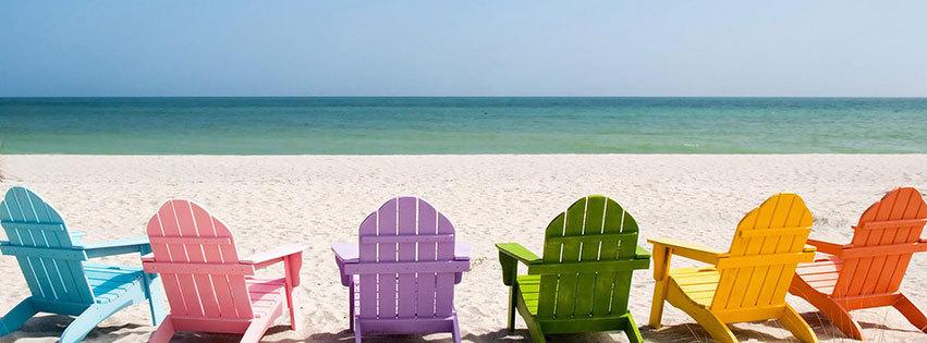couverture facebook, facebook cover, ete, plage, sable blanc, mer, ocean, vacances, fauteils colores, chaises longues