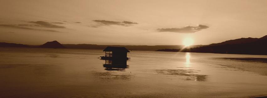 paysage, mer, cabane, coucher de soleil, sepia, couverture facebook, cover