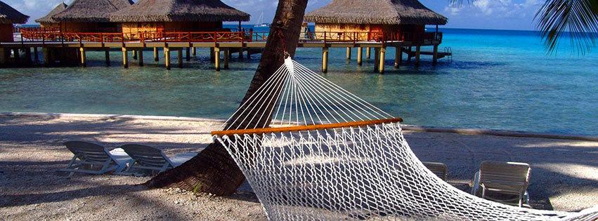 couverture facebook, facebook cover, ile paradisiaque, hamac, tropiques, lagon, mer, ocean, cocotiers, palmiers