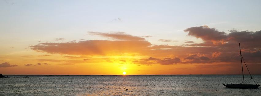 coucher de soleil, ocean indien, mer, ile maurice, voilier, bateau, couverture facebook, fb cover